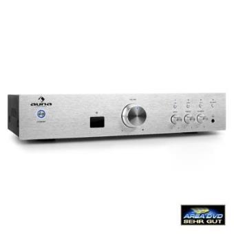 Auna AV2-CD508BT Amplificador HiFi AUX bluetooth plateado