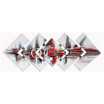 Composición de cuadros abstractos. Collage 3D con aluminio (145 x 57 cm) - 50291011444383
