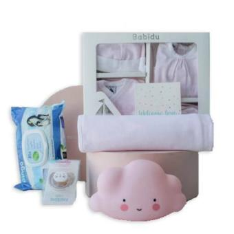 Canastilla de bebé recién nacidoTu Bebebox,  Mil Rayas, Rosa