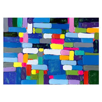 Cuadro abstracto de pinceladas horizontales. Óleo sobre lienzo en plata (200 x 140 cm) - 50301011444505