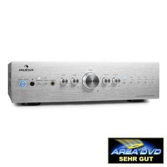 Auna CD708 Amplificador estéreo HiFi AUX 600W plata