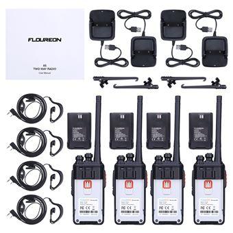 Walkie-Talkie Floureon A5 16 canales recargable PMR 446MHz transmisor de mano - 4pcs