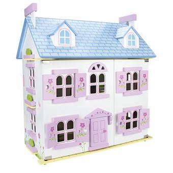 Casa alpina de muñecas de madera con muebles y muñecas
