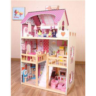 Casa de muñecas de madera con muebles y muñecas