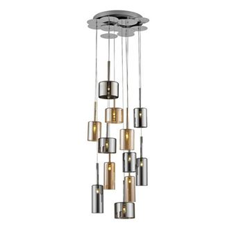 Lámpara de Suspensión Homemania Bibu Cromo, Miel, Gris, 50x50x160 cm