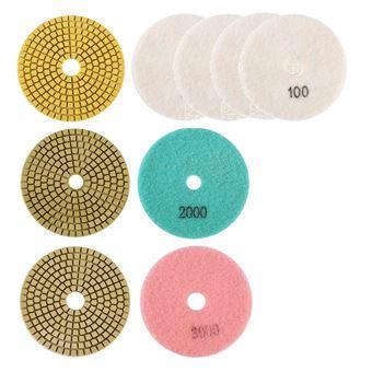 Juego de almohadillas de diamante de 100 mm para pulir con agua, máquina de pulir con agua, grano 100 / 2000 / 3000 Varan Motors NEWTG-KIT