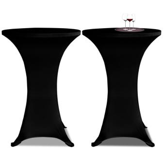 Conjunto de 2 Manteles negros ajustados para mesa de pie - 80 cm diámetro
