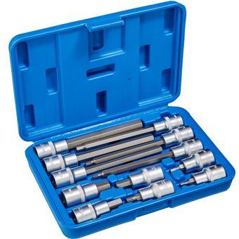 Juego de llaves tubulares Allen interior largo / corto 12 piezas, Azul