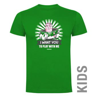Camiseta manga corta Friking, Modelo 904 I Want You To Play With Me Talla 6 años, VerdeGrass