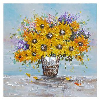 Cuadro abstracto flores. Collage 3D con elementos en aluminio (100 x 100 cm) - 50291011444352