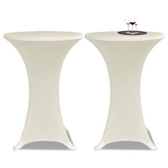 Conjunto de 2 Manteles color crema ajustados para mesa de pie - 70 cm diámetro