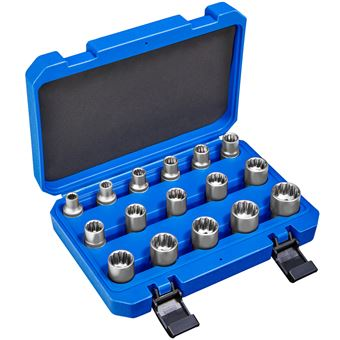 Juego de llaves tubulares dentadas exterior 16 piezas, Azul