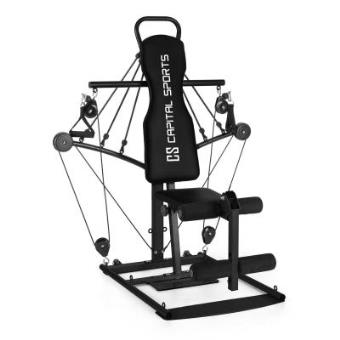 CAPITAL SPORTS Tubey Mini gimnasio multi ejercicio con poleas estación multifunción acero negro