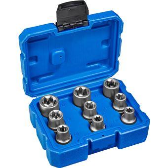 Juego de llaves tubulares Torx exterior 9 piezas, Azul