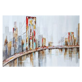 Cuadro abstracto paisaje de New York. Óleo sobre lienzo (120 x 80 cm) - 50291011444130