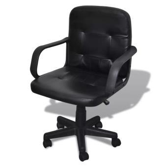 Silla De Oficina Cuero Calidad Negro 59 x 51 81-89 Cm