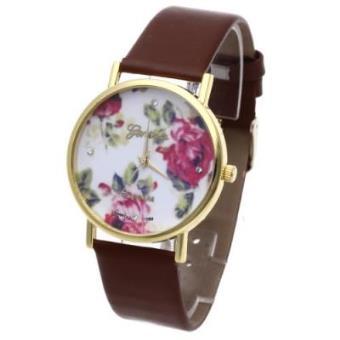 c77c268ff186 Reloj de Pulsera Cuero Marrón Cuarzo Esfera Flores Rosas Para Mujer - Reloj  Mujer Moda - Los mejores precios