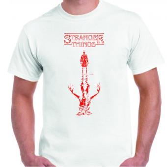 Camiseta DrMugCollection Stranger Things Upside Down Blanca, Talla L