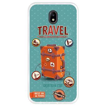 Funda Transparente para Samsung Galaxy J7 2017 - J7 Pro, Diseño Equipaje de viaje vintage con etiquetas, TPU