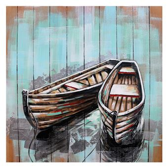Cuadro barcas. Colleage 3D. Óleo sobre lienzo (100 x 100 cm) - 50291011444246