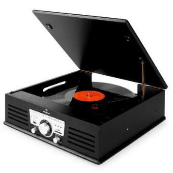 Tocadiscos Auna TT-92B  USB SD AUX FM color negro