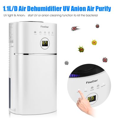 Deshumidificador 2.4L Finether 1.1L/D Digital UV Anion