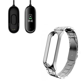 Kit Pulsera Acero Stainless Lux + Herramienta + Cargador Usb Charger Xiaomi Mi Band 4 Cinza
