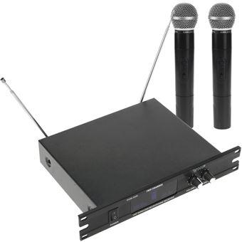 "Micrófonos inalámbricos de mano BeMatik 2 unidades compatible rack 10"""" VHF 200 - 280 MHz"