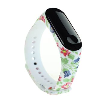 Pulsera de TPU para Xiaomi Mi Band 3 /4, Blanco & Flor
