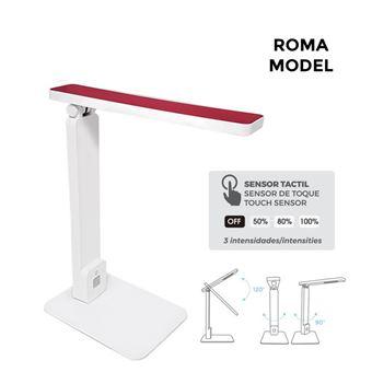 Flexo LED sobremesa 5w modelo roma color blanco/rojo interruptor-regulador tactil 220-240v EDM