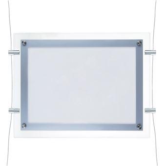 Marco cuadro iluminado por LED PrimeMatik, A3 495x372mm doble cara de metacrilato para cartel anuncio letrero