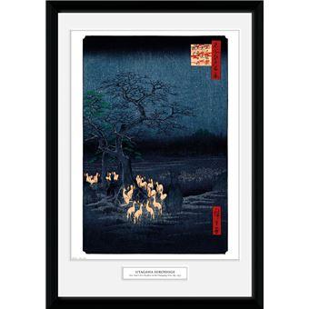 Fotografía Enmarcada Hiroshige Zorros de fuego en la Nochevieja