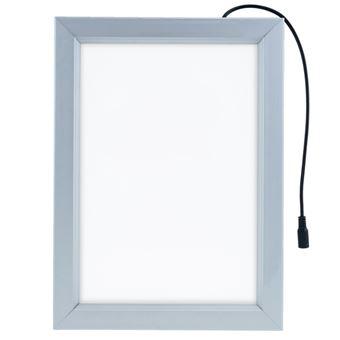 Marco cuadro iluminado por LED PrimeMatik, A4 250x340mm de doble cara para cartel anuncio letrero