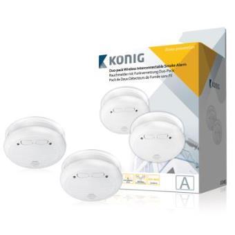 König Pack doble de alarmas de humo interconectables de forma inalámbrica, con alerta de batería baja, volumen 85 dB