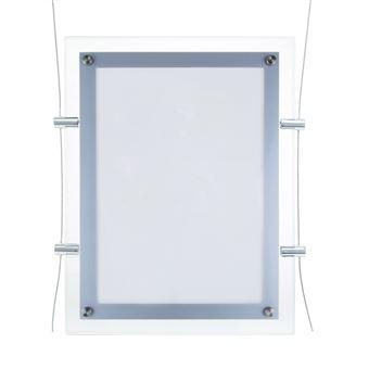 Marco cuadro iluminado por LED PrimeMatik, A4 313x365mm doble cara de metacrilato para cartel anuncio letrero