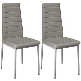 2 sillas de comedor de poli piel, Gris