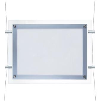 Marco cuadro iluminado por LED PrimeMatik, A4 372x285mm doble cara de metacrilato para cartel anuncio letrero