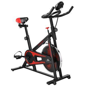 Bicicleta estática Giratoria Finether EX-300 Ajustable Asiento Resistencia 17.6lb volante Negra y roja