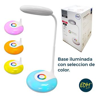 Flexo recargable LED 3w 180 lumen smd y funcion rgb  6.400k bateria incluida 1000mah