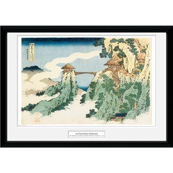 Fotografía Enmarcada Hokusai El Puente Colgante