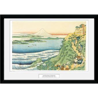 Fotografía Enmarcada Hokusai Viajeros escalando montaña