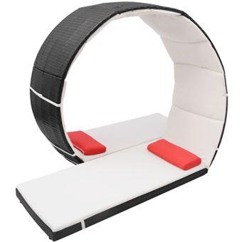 Chaise Lounge en Bucle Exterior Ratán Sintético Negra