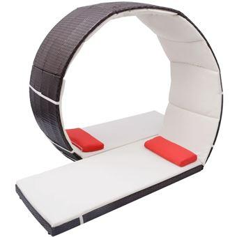 Chaise Lounge en Bucle Exterior Ratán Sintético,Marrón