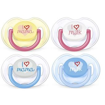 Philips Avent Pack 2 Chupetes I love mama/I love milk 0-6m (varios colores)