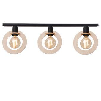 Lámpara de Techo Homemania Natural Negro Madera 80x8x25cm