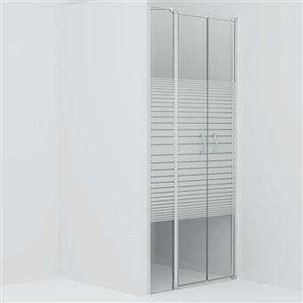 Puertas de ducha vidaXL ESG medio esmerilado 100x185 cm