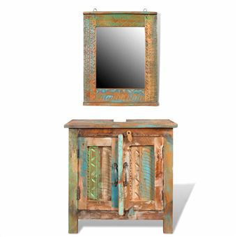 Mueble de baño vidaLX, Madera reciclada con espejo