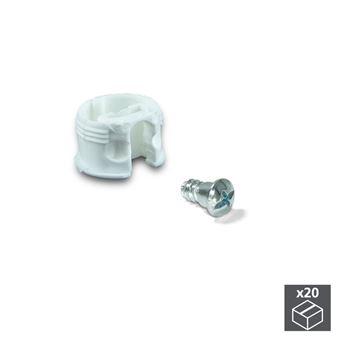Enganche de unión Emuca para estantes, D. 20 mm, 13 mm, + Pernos D. 4,2 mm, Plástico y acero, Blanco, 20 ud.