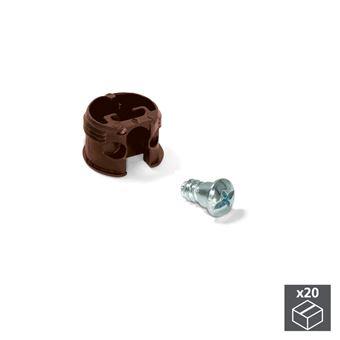 Enganche de unión Emuca para estantes, D. 20 mm, 13 mm, + Pernos D. 4,2 mm, Plástico y acero, Marrón, 20 ud.