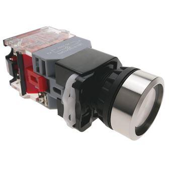 Pulsador de enganche BeMatik 22mm 500V 10A con luz LED